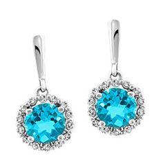 10KT White gold 0.28 ctw diamond and blue topaz earrings EAR-GEM-1173