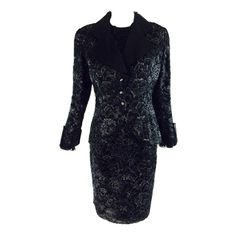 For Sale on - Christian Dior Boutique numbered black & silver lace skirt set with coordinating lace blouse. The fitted lace jacket has a nipped waist with wide lapels Suits Outfits, Fashion Outfits, Blouse And Skirt, Lace Skirt, Christian Dior, Dior Boutique, Dior Dress, Silk Chiffon, Silk Organza