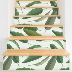Removable Wallpaper from WallsNeedLove will save you time and money! Plus this Banana Leaf pattern is adorable!