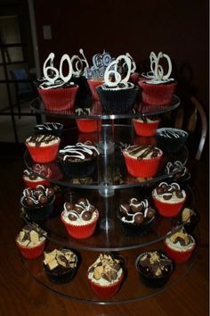 60th Birthday Cupcake Mini Tower 60th birthday cupcakes Velvet