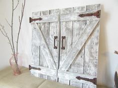 Beautiful one of a kind barn door shutters. There is an option for one or two shutter doors. So beautiful and one of a kind , I love the hinge decorations on them. You may choose them to be naturally rusty, or have a black finish. These are hinge decorations only, they do not function. This Window Shutters Exterior, Cedar Shutters, Barn Door Window, Rustic Shutters, Glass Barn Doors, Wooden Doors, Barn Door Decor, Farmhouse Shutters, Wall Decor