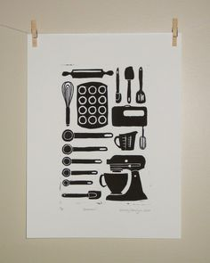 Kitchen utensils relief print in black and white