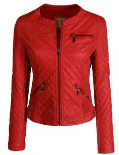 Quilted faux leather moto jacket in red