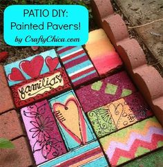 Painted Pavers & Bricks - The Crafty Painted Bricks Crafts, Brick Crafts, Painted Pavers, Brick Projects, Painted Rocks, Painted Stepping Stones, Art Projects, Painted Slate, Cement Crafts