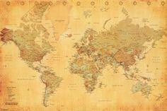 World Map - Vintage Style Póster