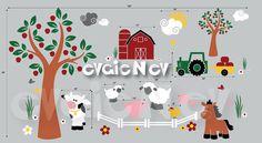 Children Wall Decal Wall Sticker Farm Animals Cow by evgieNev