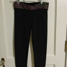 """Pink by Victoria Secret Exercise Pants Black with waist band of pink leopard.  87% cotton. And 13% spandex. 26"""" length Pink by Victoria Secret Other"""