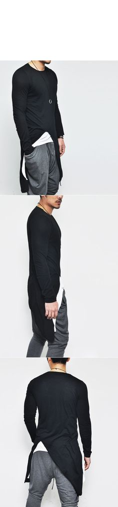 Tops :: Avant-garde Edge Unbalance Long-Tee 138 - Mens Fashion Clothing For An Attractive Guy Look