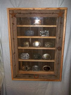 Rustic Cowboy Belt Buckle Display Case Trimmed with by wksmith, $90.00