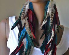 Feather Statement Earrings Bohemian Jewelry by MarcieRoxx on Etsy