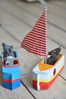 Milk carton boats - awesome craft for a fishing party