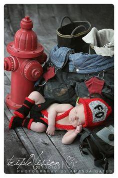 Newborn Fire Fighter Helmet Hat Suspenders Diaper Cover and Boots Photo Prop Set. $50.00, via Etsy.