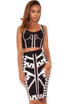 Stylish Two-piece Geometric Bandage Skirt Set