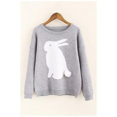 Cute Rabbit Pattern Round Neck Long Sleeve Pullover Sweater (55 NZD) ❤ liked on Polyvore featuring tops, sweaters, long length tops, long sleeve pullover, long cotton sweaters, bunny sweater and long pullover sweaters