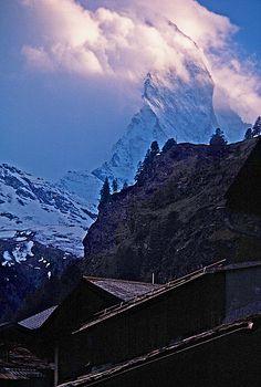 Photograph by Stuart Litoff. The Matterhorn, as seen from the village of Zermatt, Switzerland. Sell My Photos, Zermatt, Cloudy Day, Great View, Alps, Beautiful Images, Switzerland, Fine Art America, Art Photography