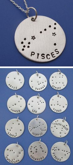 Zodiac Constellation Necklaces.  Choose your sign!