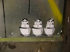 nesting dolls, photo by ruminatrix. Seen in the Gatukonst/Swedish street art group on flickr. Some rights reserved.