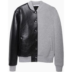 T by Alexander Wang Leather Neoprene Varsity Jacket (€785) found on Polyvore #varsityjacket #preppy #school #fashion