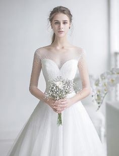 This elegant wedding dress from J Sposa Wedding featuring beautiful pearl embellishments is overflowing with angelic romance! This elegant wedding dress from J Sposa Wedding featuring beautiful pearl embellishments is overflowing with angelic romance! Stunning Wedding Dresses, Dream Wedding Dresses, Designer Wedding Dresses, Bridal Dresses, Bridal Gown, Bridal Looks, Marie, Beautiful, Neckline Designs