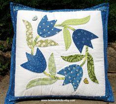 Blue Tulip Throw Pillow Hand Applique Pillow Home by twistedsticks