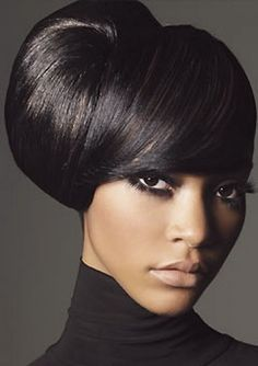 Elegant wedding hairstyles and hairdos for African-American women and brides-to-be featuring relaxed hair, natural hair and braids. Peinado Updo, Coiffure Hair, Black Hair Updo Hairstyles, Black Wedding Hairstyles, Weave Hairstyles, Bouffant Hairstyles, Formal Hairstyles, Hairstyle Ideas, Style Hairstyle