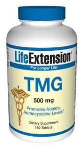 Life Extension TMG (trimethylglycine) | 500 mg 180 tablets ( Multi-Pack) by Life Extension. $27.00. DOUBLE VALUE PACK of Life Extension TMG (trimethylglycine) | 500 mg 180 tablets - Trimethylglycine (TMG) is also called glycine betaine, but the name trimethylglycine signifies that it has three methyl groups attached to each molecule of glycine. TMG was discovered to be beneficial to heart health back in the 1950s.101-105 TMG operates along a pathway similar to that of vitamin...