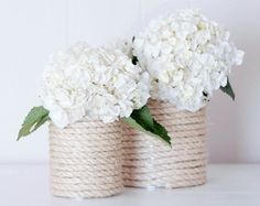 DIY: Βάζο για λουλούδια με ναυτικό σκοινί