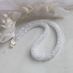 Crystal Snake, náhrdelník náhrdelník korálky svatba stříbrná dutinka svatební crystal matná