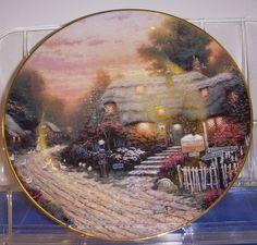 Thomas Kinkade Collector Plate The Olde Poterfield Tea Room 1991 Cottage England
