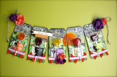 Put some tags together for a HALLOWEEN TREAT BANNER --from Faber-Castell