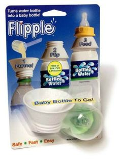 Sometimes, it's the simple things that make life easier. Flipple is designed to let you turn a regular old water bottle into a baby bottle in a pinch. Use the funnel side to add formula and then flip the Flipple over (hence the name) and the adapter enables you to attach a clean nipple right to a standard water bottle.  http://api.ning.com/files/L67J4KB8XT2rd1LgmZoMbAhAMIiXafcAPOVAHOzE7nlsC2k3sG82QO5EXdjMR7tY8UxQ6eG8PWrfcjkrhQlnnS1dz1wwW-lX/flipple.jpg