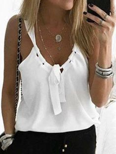 Casual Sexy Low Round Collar Sleeveless T-Shirt Casual Sexy Low Round Collar Sleeveless Tee Summer Outfits, Casual Outfits, Cute Outfits, Fashion Outfits, Womens Fashion, Fashion Clothes, Sewing Clothes, Diy Clothes, Diy Mode