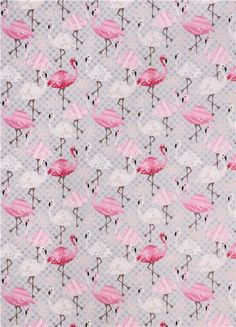 grey flamingo leaf animal fabric Timeless Treasures USA - Animal ...