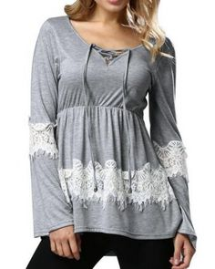 Lace splicing t shirt for women v neck lace up tops
