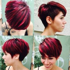 """hair_beauty-short choppy haircut with side undercut """"Choppy bob and pixie are in trend nowadays. Find out why short choppy hairstyles conquer the Short Hair With Layers, Layered Hair, Short Hair Cuts, Short Hair Styles, Choppy Layers, Pixie Cuts, Short Choppy Haircuts, Haircuts With Bangs, Haircut Short"""