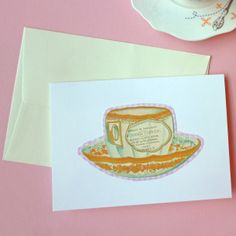 We cut around tea cups on some Cavallini wrapping paper and hey presto - a nice card was born! #ImpressMum