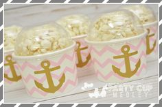 Nautical Birthday Party Treat Cups-Popcorn Cups-Set of 6, 8 or 10 by PartyCupMedley on Etsy