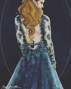 Feyre with her tattoo displaying her bargain with Bryaxis and the Bone Carver