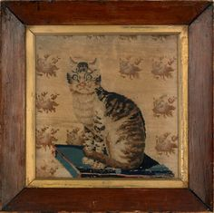 Needlework: Cat seated on a pillow, early c. Embroidery Sampler, Vintage Embroidery, Cat Fabric, Needlepoint Kits, Naive Art, Vintage Cat, Cat Love, Cat Art, Folk Art