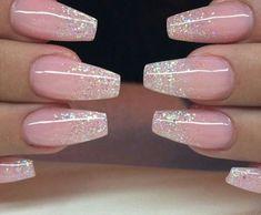 Natural Fake Nails, Nail Natural Acrylic Manicure, Natural Tip Acrylic Nail Art, Acrylic Nails Classy Nail Prom Nails, Long Nails, Wedding Nails, Short Nails, Wedding Ring, Nude Nails, Nail Manicure, Blush Pink Nails, Glitter Manicure