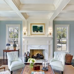 calcutta gold fireplace surround coffered ceiling