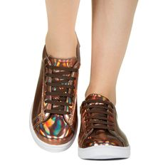 Tênis Cobre com Sola Branca Holográfico Taquilla - Taquilla - Loja online de sapatos femininos
