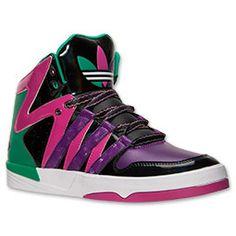 Women's adidas Originals Court Femme Casual Shoes  FinishLine.com   Black/Tribe Purple/Bahia Magenta