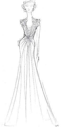 Jenny Packham sketch -  Aspen dress; Fall 2012