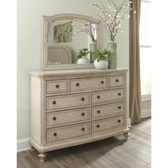 Signature Design By Ashley Demarlos Parchment White Dresser And Mirror  (Parchment White Dresser/with Mirror)