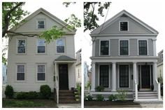 Urban Cottage: Greek Revival Exterior Renovation Before and After -Great Job!An Urban Cottage: Greek Revival Exterior Renovation Before and After -Great Job! Exterior Design, Before After Home, Exterior House Renovation, Porch Addition, House Painting, Greek Revival, Urban Cottage, Flipping Houses, House Makeovers
