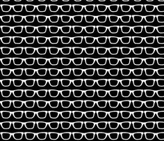 glasses black and white fabric by katarina on Spoonflower - custom fabric. pinned by Liberhada ♥ Textile Prints, Textile Patterns, Print Patterns, Textiles, Pattern Books, Pattern Art, Black And White Fabric, Novelty Fabric, Fabric Textures