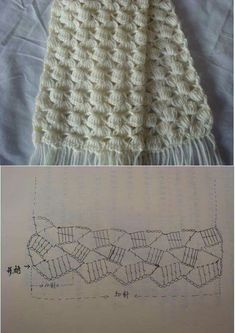 Crochet white scarf ♥LCP-MRS♥ with diagram----Patrones Crochet: Patron Crochet Bufanda I really like this pattern, it looks like fun.Free crochet pattern pattern is for a sweater but can use the general stitch for other projects salvabrani – ar Crochet Diy, Beau Crochet, Patron Crochet, Bonnet Crochet, Crochet Motifs, Crochet Stitches Patterns, Crochet Diagram, Crochet Chart, Scarf Patterns