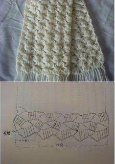 Scarf pattern Beau Crochet, Patron Crochet, Bonnet Crochet, Crochet Diy, Crochet Motifs, Crochet Stitches Patterns, Crochet Diagram, Crochet Chart, Crochet Gratis