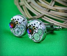 Steampunk Stud Earrings Mechanical <b>Watch</b> Movement and Green ...